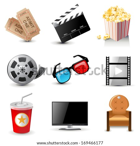 9 movie icons - stock vector