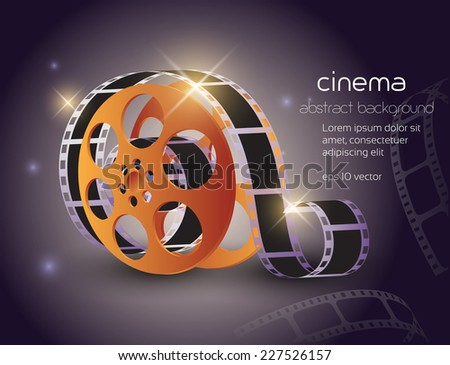 movie reel with film strip abstract background - stock vector
