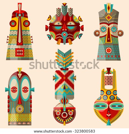 6 multi-colored african masks of different shapes. Vector illustration - stock vector
