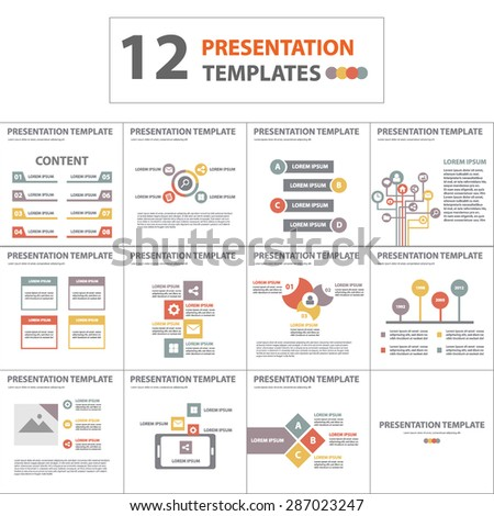12 Multipurpose Business Presentation Template flyer Brochure Design Set - stock vector