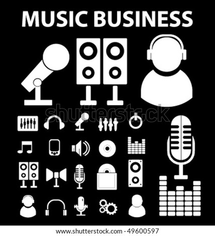 20 music business signs. vector - stock vector