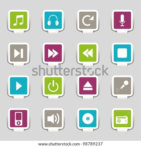 16 music icons - stock vector