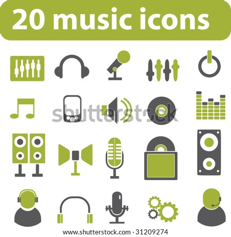 20 music icons. green series. vector - stock vector