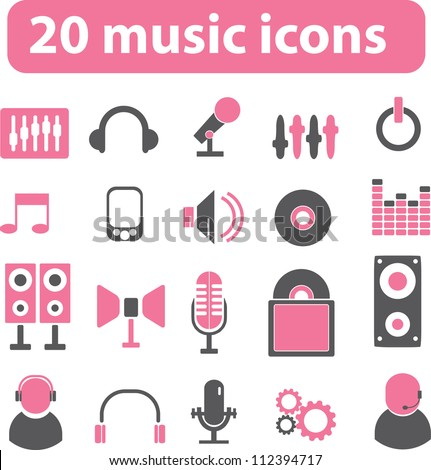 20 music icons set, vector - stock vector