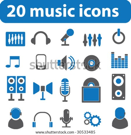 20 music icons.vector - stock vector