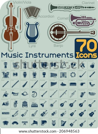 70 Music Instruments Icons Vector Set - Extensive music instruments icons collection organized by type. File type: vector EPS AI8 compatible. No transparencies and no gradient fills.  - stock vector