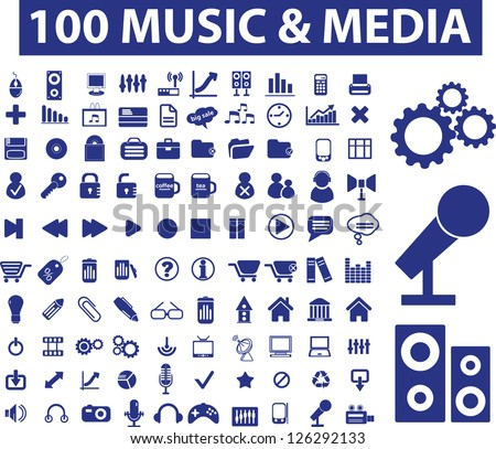 100 music & media icons set, vector - stock vector