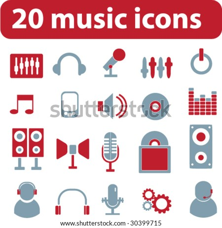 20 music signs.vector. red-blue series. - stock vector