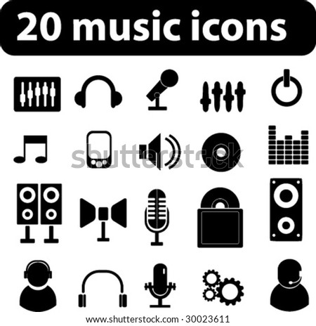 20 music vector icons - minimal black series. see more in my portfolio - stock vector