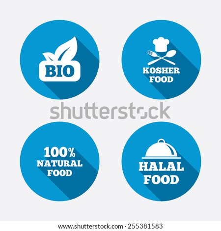 100% Natural Bio food icons. Halal and Kosher signs. Chief hat with fork and spoon symbol. Circle concept web buttons. Vector - stock vector