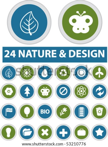 24 nature & design glossy buttons. vector - stock vector