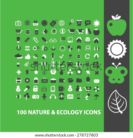 100 nature, ecology, climate icons, signs, illustrations set, vector - stock vector