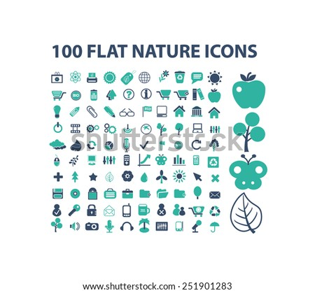 100 nature, ecology, environment, forest, biology flat isolated icons, signs, illustrations vector set on background - stock vector