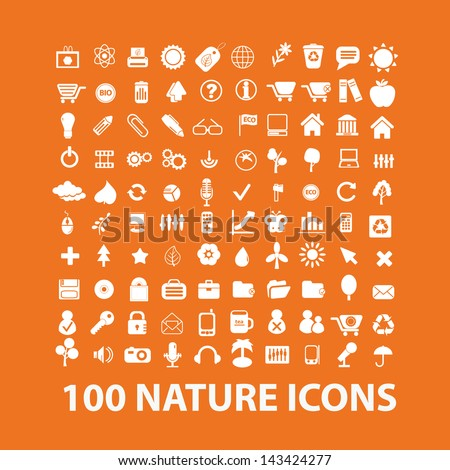 100 nature, ecology, life icons, signs set, vector - stock vector