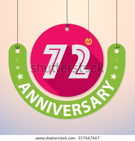 72nd Anniversary - Colorful Badge, Paper cut-out - stock vector