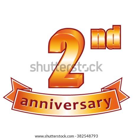 2nd anniversary. Golden vector label. - stock vector
