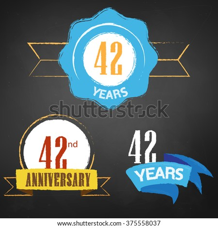 42nd Anniversary/  years colorful chalk emblem vector with 3 different options - stock vector