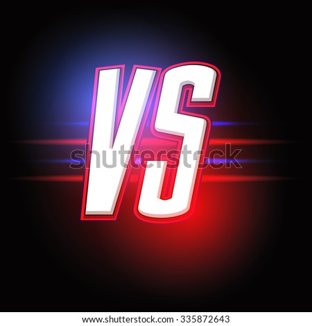 Neon Versus Logo. VS Vector Letters Illustration. Competition Icon. Fight Symbol. - stock vector