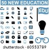 50 new education signs. vector - stock vector