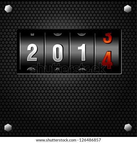 2014 New Year Analog Counter detailed vector - stock vector