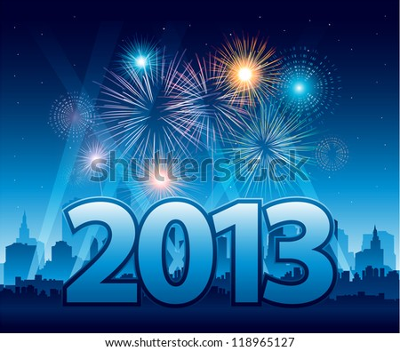 2013 New Year background with fireworks EPS 10 - stock vector