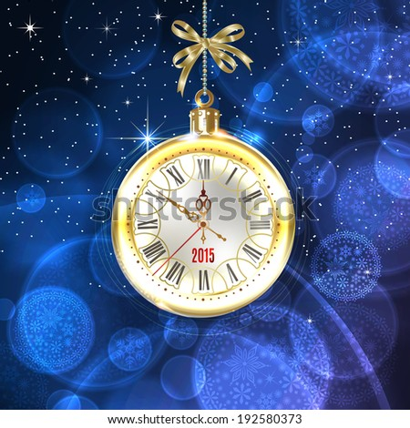 2015 new year. Beautiful, vintage clock hands show 10 minutes to midnight. Holidays card. Time to celebrate. Place your text at the bottom. Vector EPS 10 illustration.  - stock vector
