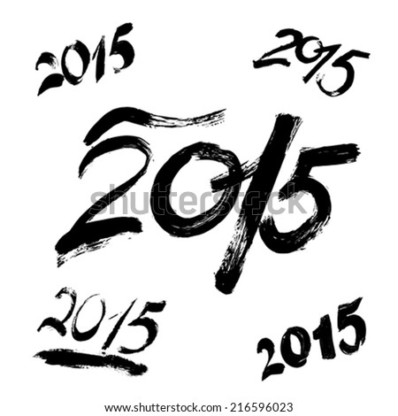 2015 New Year Black  handwritten sign set on white  background. Acrylic colors.  Vector Illustration.  - stock vector