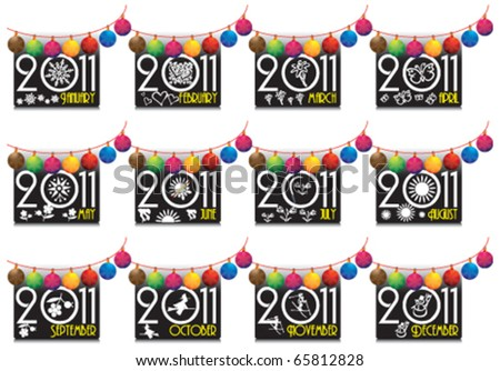 2011, new year, calendar - stock vector