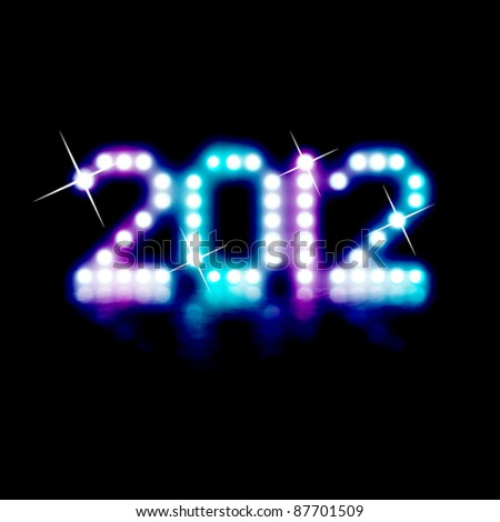 2012 New Year Card - neon lights shining in the dark with reflection on the water - vector illustration - stock vector