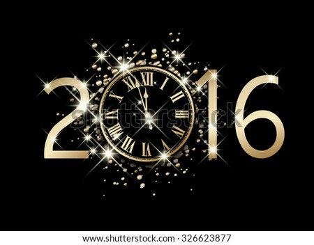 2016 New Year card with clock. Vector paper illustration. - stock vector