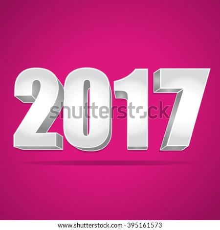 2017 New Year 3d silver numbers on a pink background. Vector illustration. - stock vector