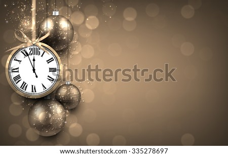 2016 New year golden background with christmas balls and vintage clock. Vector illustration with place for text.  - stock vector