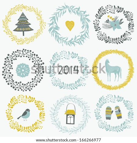 2014 New Year greeting card - stock vector