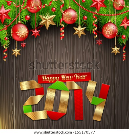 2014 new year greeting with holidays decoration - vector illustration - stock vector