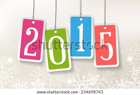 2015 New Year greetings card with four colorful stickers. - stock vector