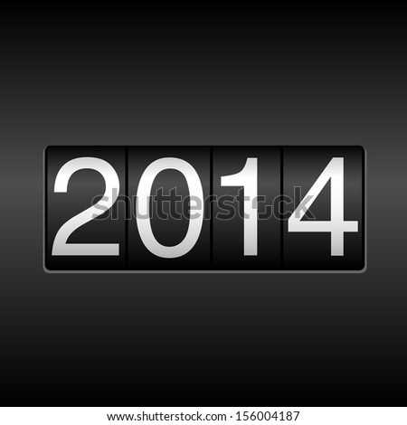 2014 New Year Odometer - New Year 2014 design - odometer style.  EPS8 file.  - stock vector