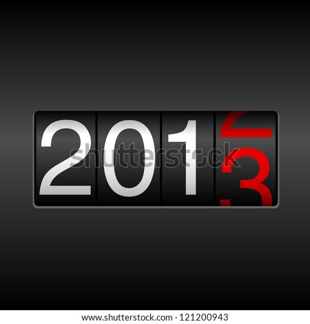 2013 New Year Odometer - New Year 2013 design, odometer style with white and red numbers.  Uses simple gradients. - stock vector