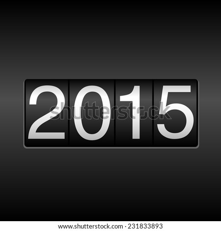 2015 New Year Odometer - white numbers on black background.  EPS8 file. - stock vector