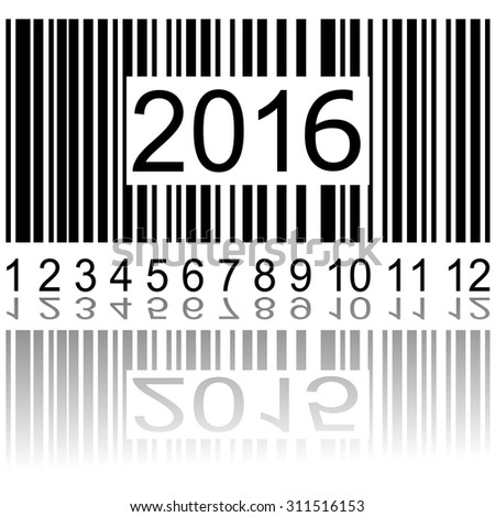 2016 new year on the barcode, vector illustration - stock vector