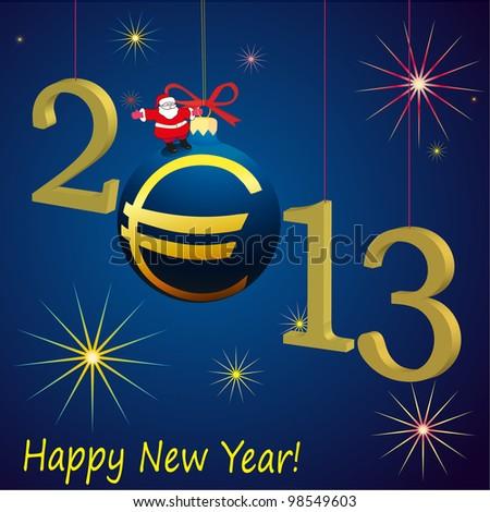 2013 New Year symbols with Santa Claus and Euro ball - stock vector