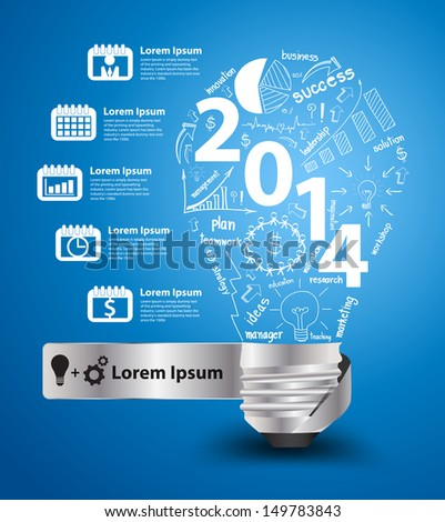 2014 new year with creative light bulb idea with drawing charts and graphs business success strategy plan concept, workflow layout, diagram binder silhouettes icons, Vector modern design template - stock vector