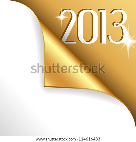 2013 new year with gold curled corner - stock vector
