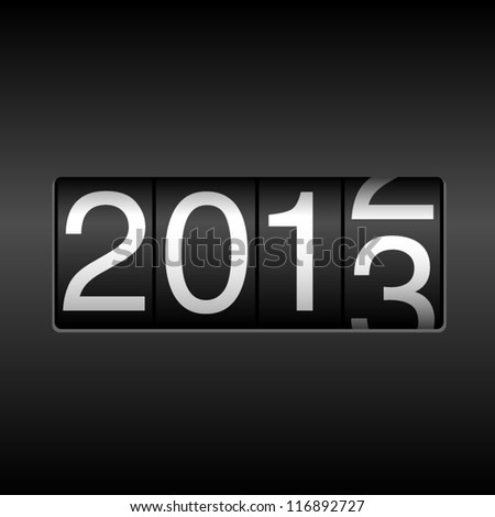 2013 New Year - Year 2013 design - odometer style.  File is layered, and uses simple gradients. - stock vector