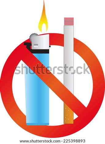 no smoking sign in vector format isolated on white background  - stock vector