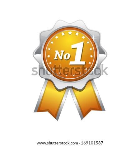 No 1 Yellow Seal vector Icon - stock vector