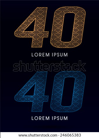40 Number ,Luxury font ,designed using gold and blue line, concept shape from water, river, sea, ocean, fish scale, logo, symbol, icon, graphic, vector. - stock vector