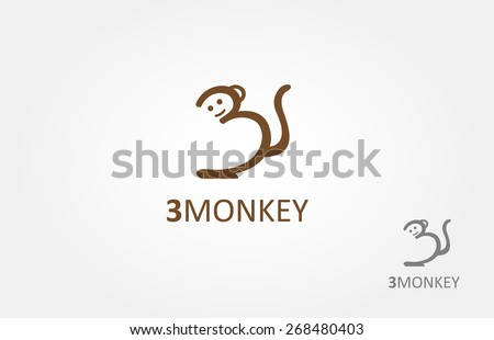 number three or a monkey. - stock vector