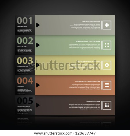 5 numbered banners with text and simple icons. Useful for tutorials, presentations or advertising. - stock vector