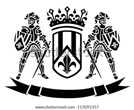 ?oat of arms with knights - stock vector