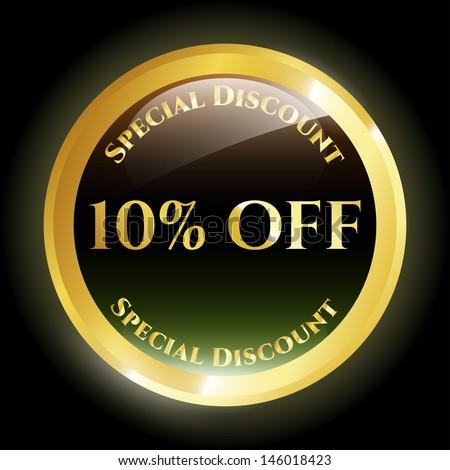 10% Off Icon - stock vector